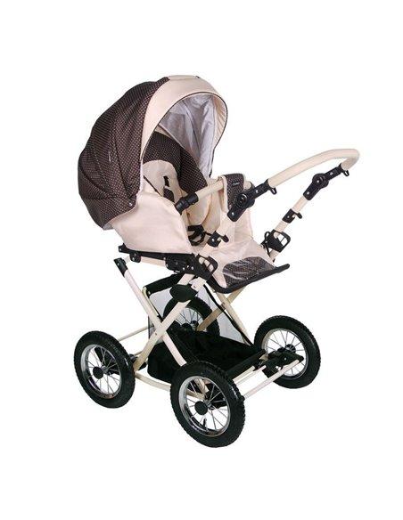Детская коляска-трансформер Adamex Galaxy белая кожа-бирюзовый (цветики)