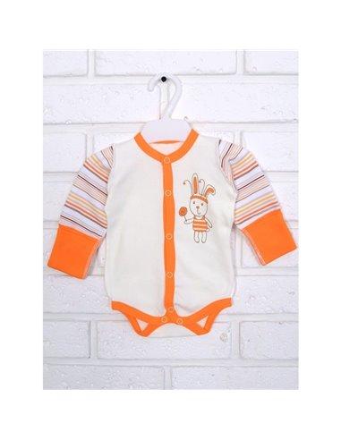 Напівкомбінезон боді Татошка 146537 молочний/оранжевий/принт полоска