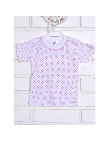 Футболка Татошка 06601 білий-рожевий горошок