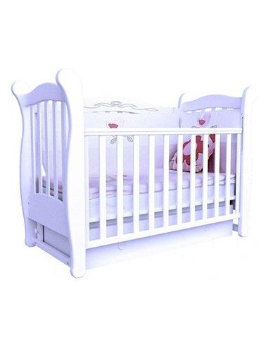 Кроватка Верес ЛД15 с шухлядой и маятником 15.06 белый