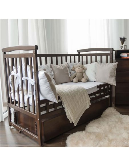 Кроватка Детский Сон с маятником и ящиком орех