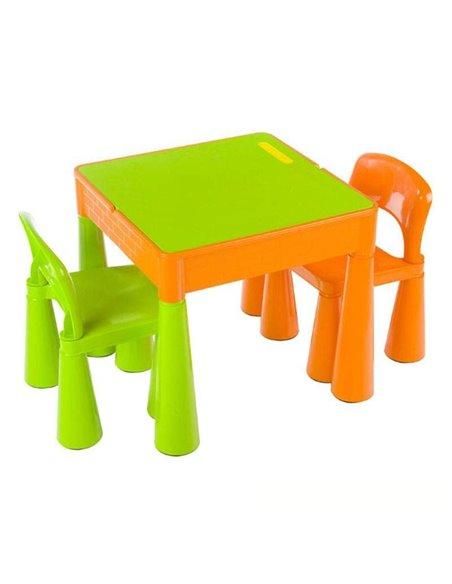 Детский столик и стульчики Tega Mamut салатово-оранжевый