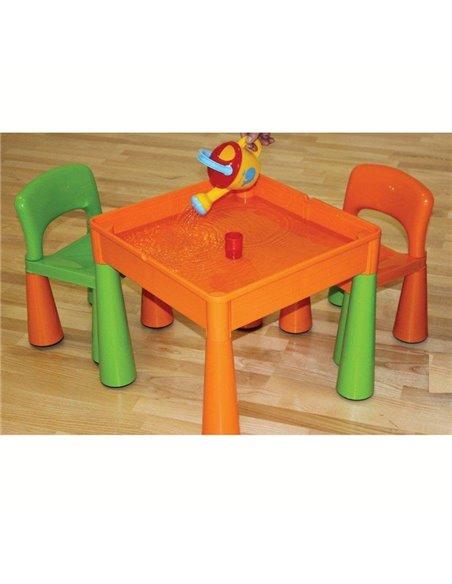Дитячий столик і стільчики Tega Mamut салатово-помаранчевий
