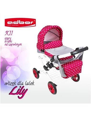 Коляска для куклы Adbor Lily K11 серый горошек на красном