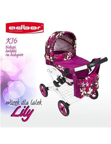 Коляска для ляльки Adbor Lily K16 малиновий квіти на малиновому