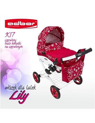 Коляска для ляльки Adbor Lily K17 червоний квіти маленькі на червоному