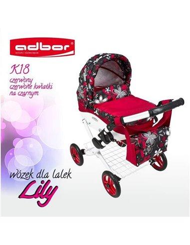 Коляска для куклы Adbor Lily K18 красный цветы на черном
