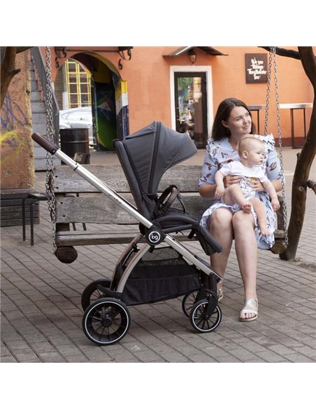 Дитяча коляска 3 в 1 BubaGo Lacio dark grey, чорна рама
