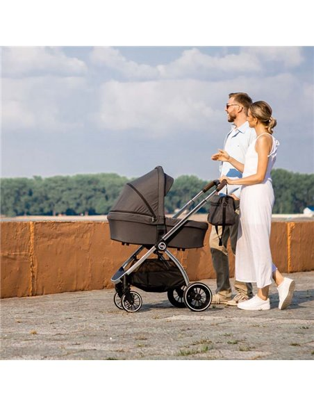 Дитяча коляска 3 в 1 BubaGo Lacio light grey, хромова рама