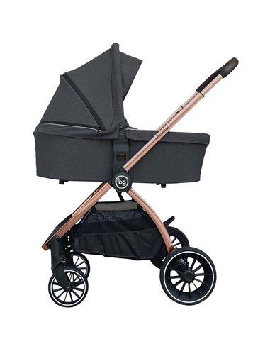 Дитяча коляска 3 в 1 BubaGo Lacio dark grey, мідна рама