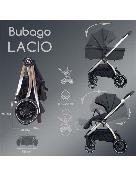 Дитяча коляска 3 в 1 BubaGo Lacio light grey, мідна рама
