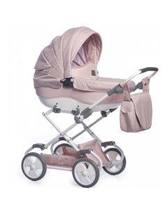 Детская коляска 2 в 1 Mikrus Genua 10 розовый джинс