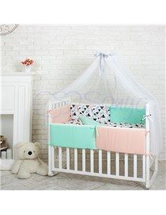 Двоярусне ліжко Art In Head Binky ДС702 Біло-голубе (ЛДСП), натур. решітка