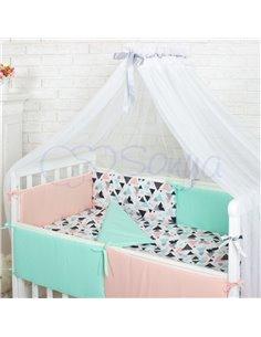 Двухъярусная кровать Art In Head Binky ДС702 Бело-розовая (ЛДСП), белая решетка