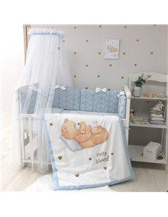 Кроватка приставная Lionelo Timon navy blue + матрасик Fiki Miki
