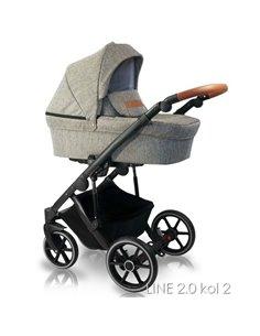 Детская коляска 2 в 1 Bair Polo Silver Eco 33S графитовая