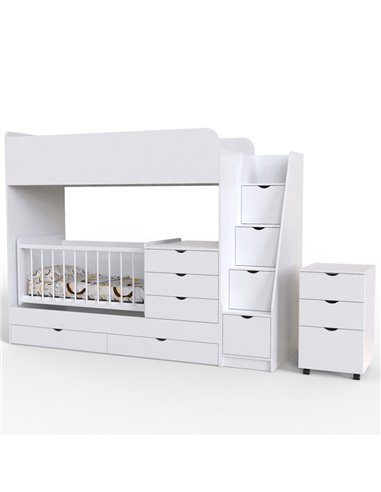 Двухъярусная кровать Art In Head Binky ДС702 Белая (ЛДСП), белая решетка