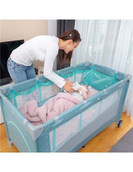 Манеж кровать Caretero Basic Plus mint